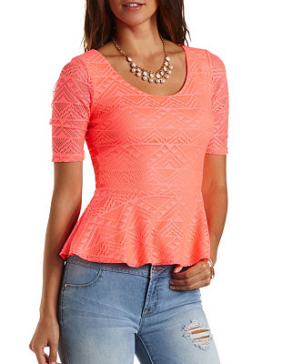 Neon lace peplum top: charlotte russe