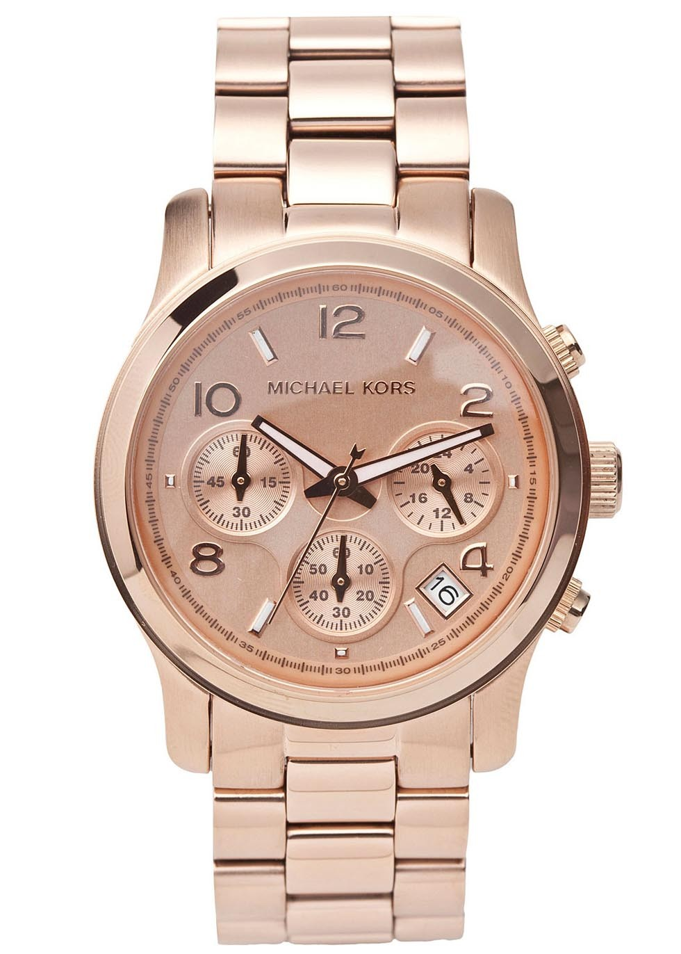 Michael Kors Rose gold tone stainless steel chronograph watch