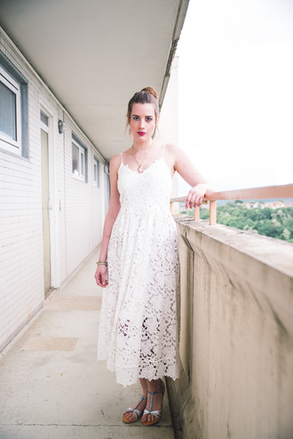 andy sparkles blogger dress shoes jewels eyelet dress white dress midi dress summer dress summer outfits romantic summer dress romantic dress sandals flat sandals eyelet detail silver sandals
