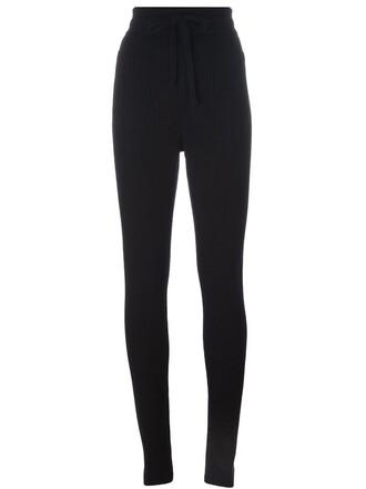 leggings high women black wool pants