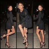 dress,zendaya,black dress,black,girl,fashion,sexy,celebrity style,black shoes,hair accessory