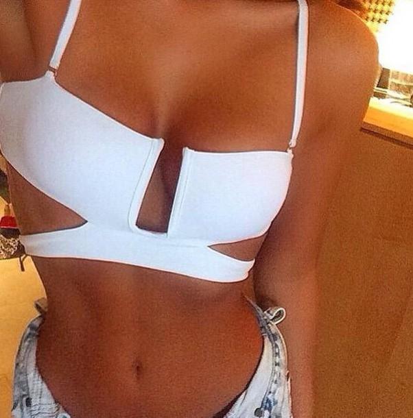 swimwear bikini top bikini tank cutout top cutout bikini
