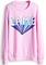Pink long sleeve lame print casual sweatshirt