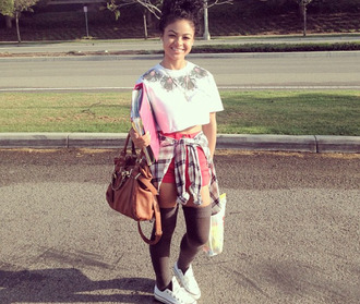 top brown bag india westbrooks _indialove flannel purse bag crop tops cropped bun socks converse shorts the westbrooks red plaid jacket shoes sneakers curly hair