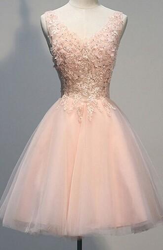 dress pearl pink homecoming dress v neck dress knee length dress open back homecoming dresses