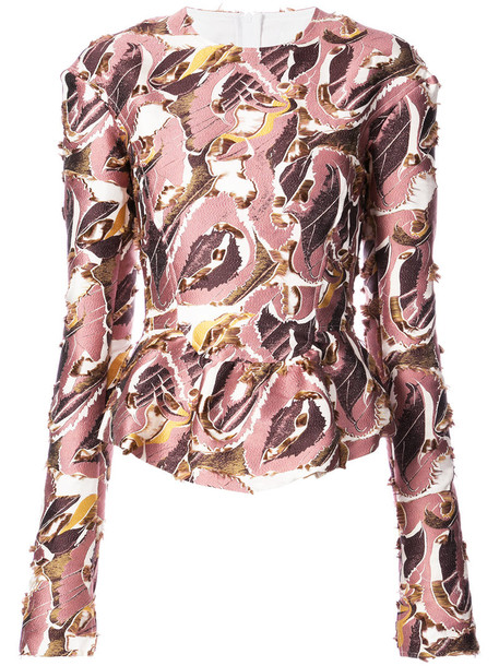 blouse women print silk wool purple pink top