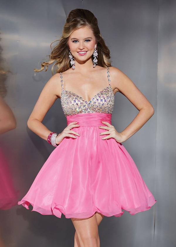 Sweetheart Rhinestone Spaghetti Straps Pink Short Dress [Spaghetti ...