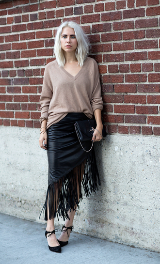 always judging blogger jumper fringes fall outfits sweater fringe skirt leather skirt black leather skirt office outfits v neck