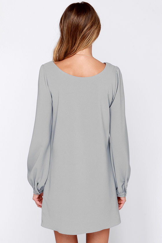 Perfect situation grey long sleeve shift dress