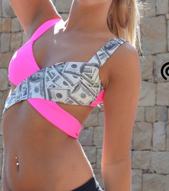 tank top crop tops money neon pink summer top diy clubwear
