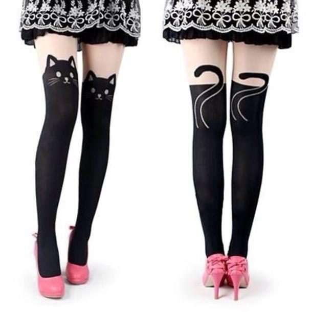 pants cat kitty socks leggings over the knee tights