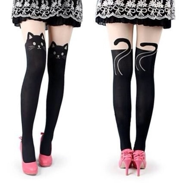 pants cat kitty socks leggings over the knee tights