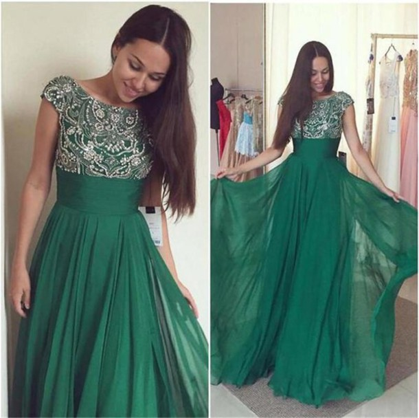dress, beaded crystal prom dresses, emerald