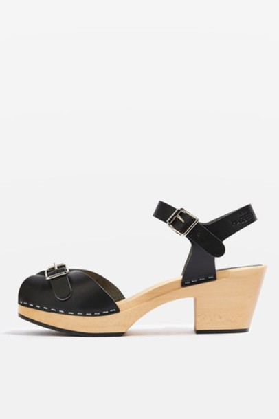 Topshop wood high sandals black shoes