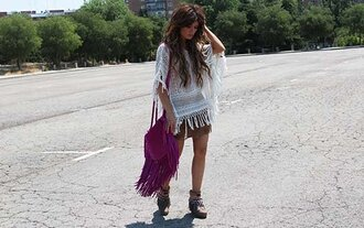 madame rosa blogger crochet top fringed bag boho