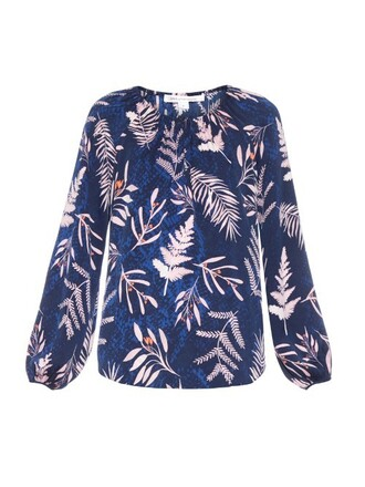 blouse navy print top