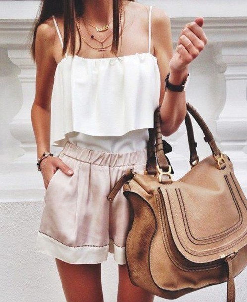 shorts skirt bag chiffon satin