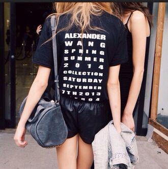 shirt alexander wang black t-shirt shorts