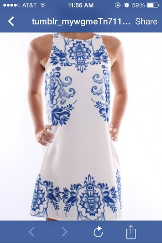 dress tunic dress blue and white paisley porcelain print shift dress