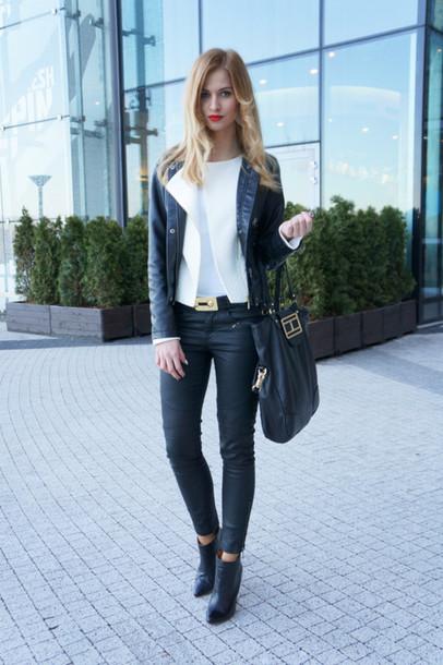 beauty fashion shopping t-shirt pants belt jewels jacket bag shoes
