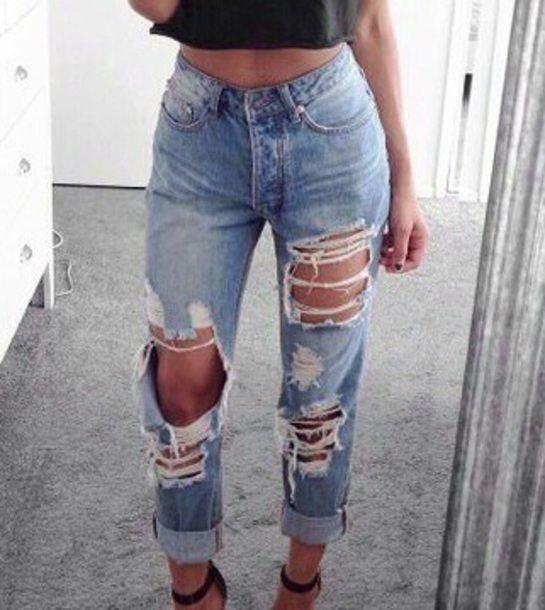 Jeans Tumblr Blue Blue Jeans Boyfriend Jeans Ripped Jeans Style Favorite Fashion High ...