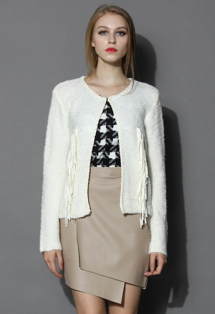 Fringed Knit Coat in Ivory - Retro, Indie and Unique Fashion