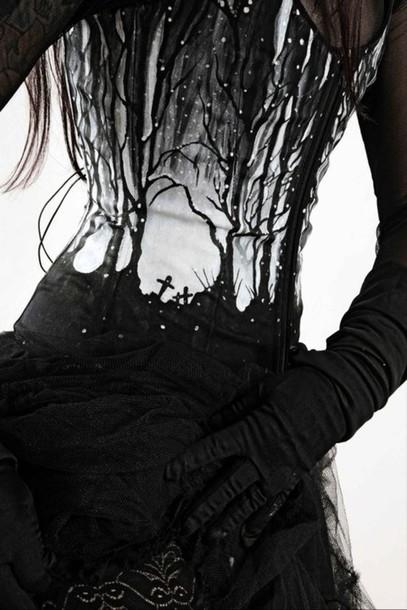 dress corset top cemetery black white birds graveyard