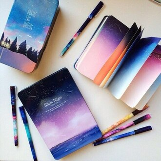 notebook note book sky colorful space home accessory lifestyle accessories galaxy print