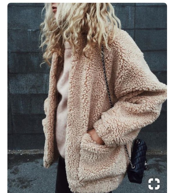 coat faux teddy bear coat