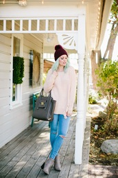 the red closet diary,blogger,sweater,jeans,shoes,bag,hat,beanie,handbag,pink sweater,ankle boots,grey boots