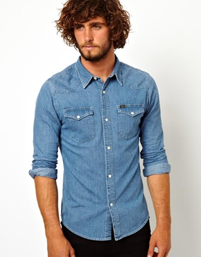 Lee | Lee Denim Shirt Western Slim Fit Light Stone at ASOS