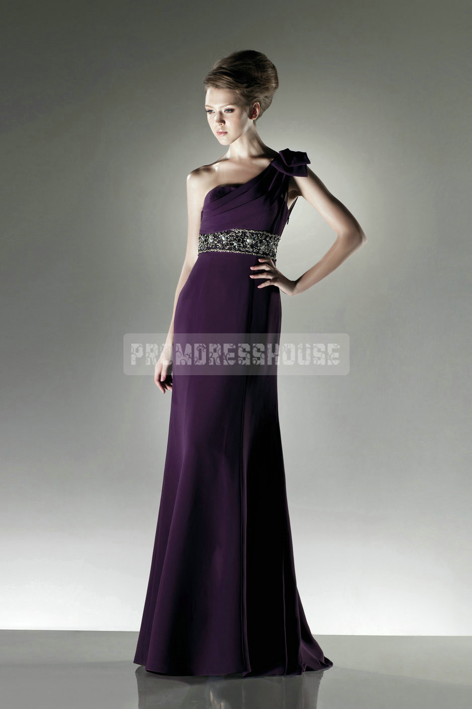 Noble Grape Beading Flower A-line Chiffon Bridesmaid Dress - Promdresshouse.com