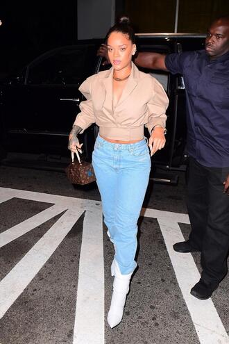 jacket jeans denim cropped jacket rihanna streetstyle boots fall outfits