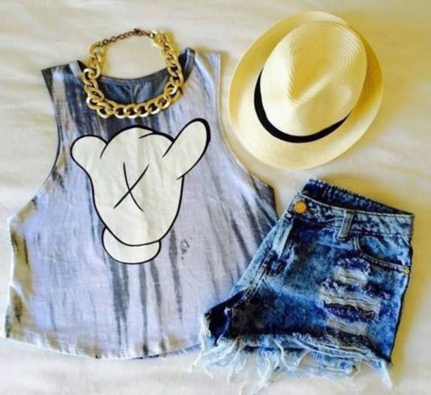 top blouse mickey mouse tie dye ripped shorts shirt disney hapa time summer necklace shorts tank top t-shirt urban muscle tanke