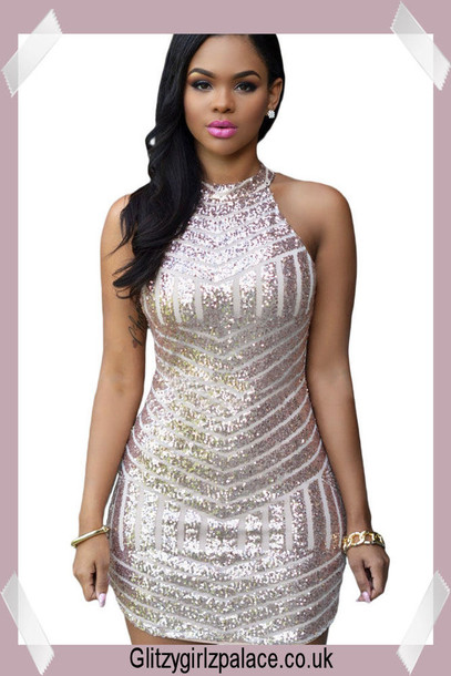 Dress: high neck dress, sequin dress, party dress, rose gold ...