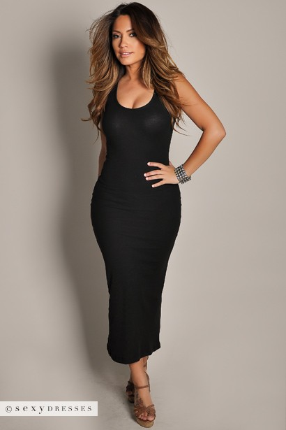 Anabelle Black Cute And Casual Sleeveless Tank Maxi Dress