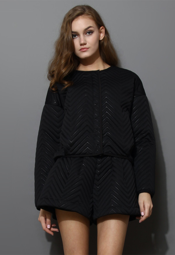 dress zig zag quilted black jacket short set
