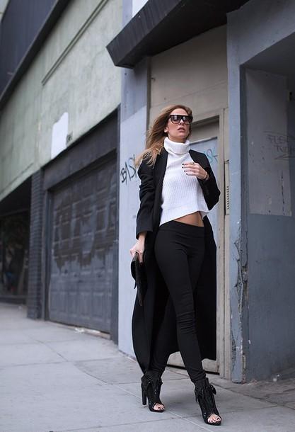 blogger sunglasses coat sweater bag pants shoes