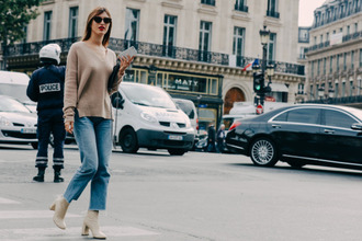 sweater jeanne damas fashionista french girl style nude sweater jeans blue jeans cropped jeans white boots boots bag black bag sunglasses black sunglasses
