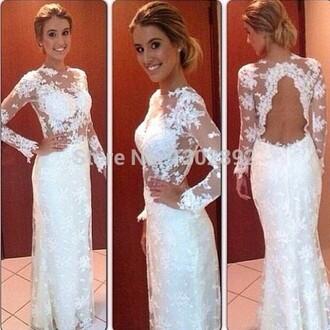 backless long prom dress lace women dress long sleeves appliques dresses