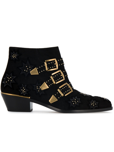 embroidered women booties leather suede black velvet shoes