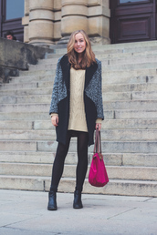 a cup of style,blogger,socks,bag,coat,knitted sweater,longchamp,pink,white knit dress