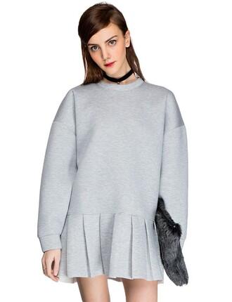 dress pixie market pixie market girl grey neoprene dress peplum dress pleated grey dress day dress neoprene