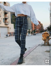 jeans,plaid blue pants,pants,emma chamberlain,plaid pants,white crop tops,high waisted pants,shirt