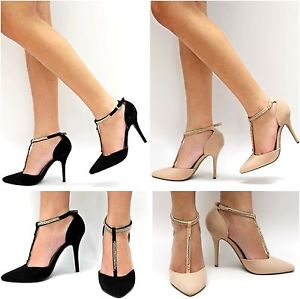 Women BMO Black Nude Beige T Strap Gold Chain Pointy Toe Pointed ...