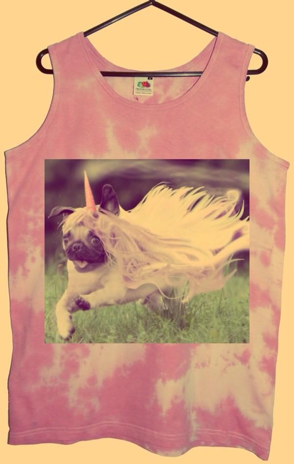 t-shirt pugs tie dye tank top unicorn pink pastel hipster dog