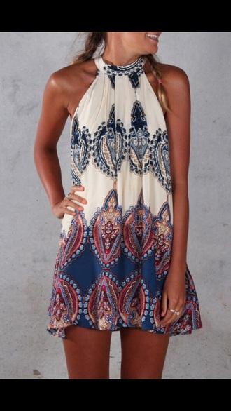 dress pattern print summer fashion style halter dress cardigan