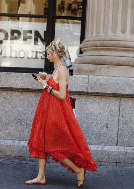 dress red dress boho