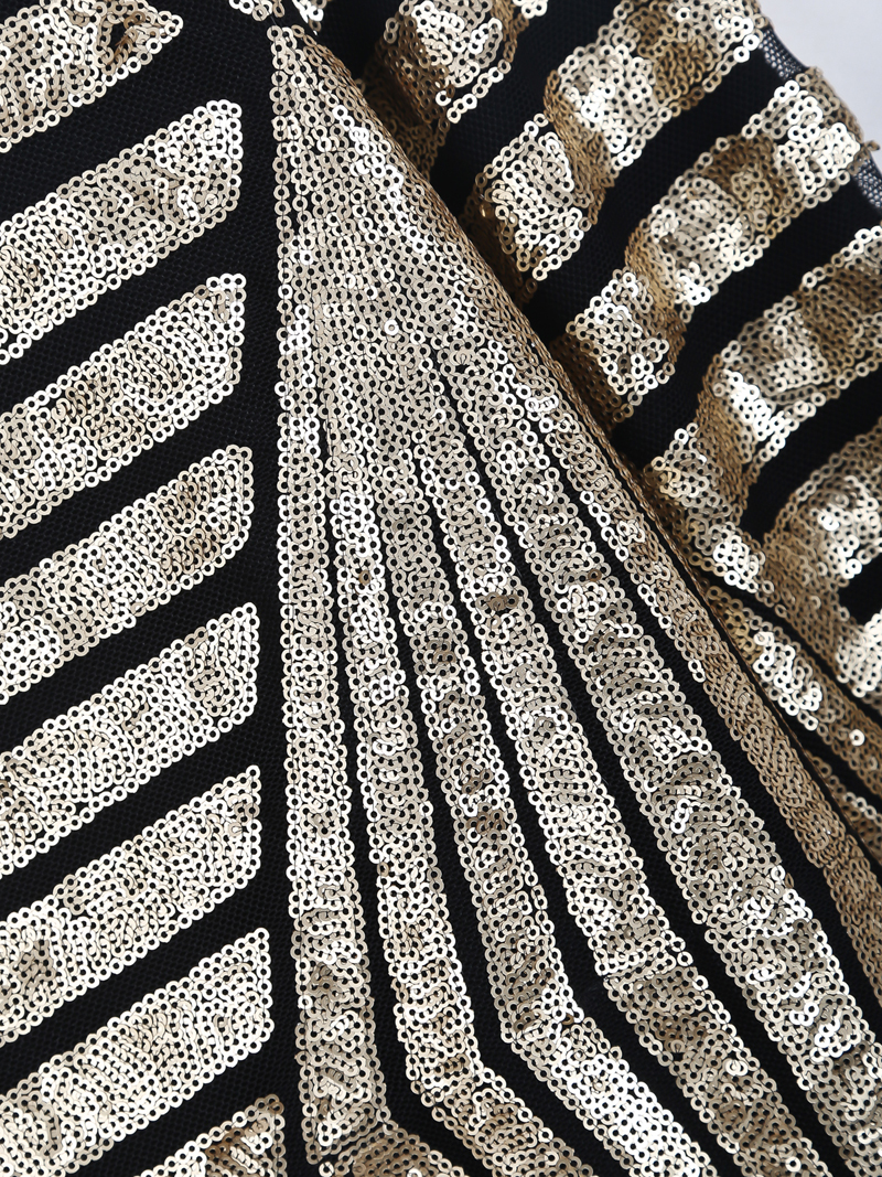 Black Long Sleeve Sequined Striped Sweatshirt - Sheinside.com