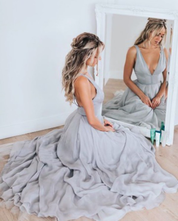 dress cara jourdan prom dress prom gown formal wedding dress wedding a-line deep v dress grey dress satin
